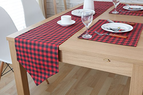 ChezMax Plaid Cotton Linen Reversible Picnic Table Runner Party Banquet Decoration Outdoor Tablecloths without Tassles for Dining Table Black and Red 11.9