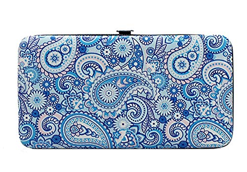 - Chicastic Blue Paisley Print Flat Hard Clutch Wallet