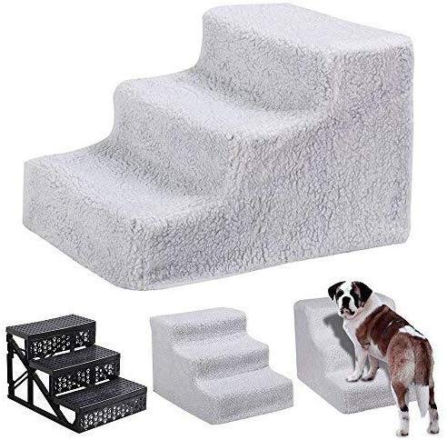 hong Wu Pet Stairs, 3 Steps Portable Pet Stairs Plush Covered Cat Dog Ramp Ladder Padded Easy Climb for Pet Dogs Cats White by hong Wu