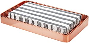 mDesign Modern Decorative Metal Guest Hand Towel Storage Tray Dispenser, Sturdy Holder for Disposable Paper Napkins - Bathroom Vanity Countertop Organization - Rose Gold