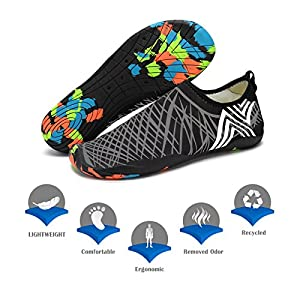 KEALUX Men Women Barefoot Quick-Dry Water Sports Shoes Multifunctional Sneakers with Drainage Holes for Swim, Walking, Yoga, Lake, Beach, Garden, Park, Driving, Boating (Black&Grey )
