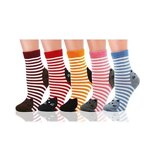 Deer Mum Girl New Fashion Cotton Stripe Socks with Cute Cartoon Cat Pattern 5 Pairs (New Mum)