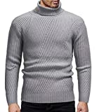 Domple Mens Plain Slim Fit Turtleneck Ribbed Knit Cotton Pullover Sweaters Light Gray XL