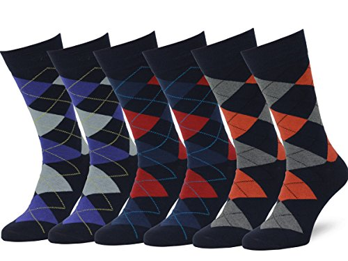 (Easton Marlowe Men's Classic Cotton Argyle Dress Socks - 6pk #2-7, Dark Navy & Bright Colors - 43-46 EU shoe)