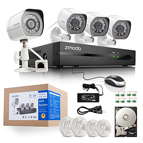 Zmodo 4CH 720P Simplified PoE NVR System with 1TB HDD