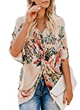 Sousuoty Women's Summer Floral Print Tops Twist Knot Blouses V Neck