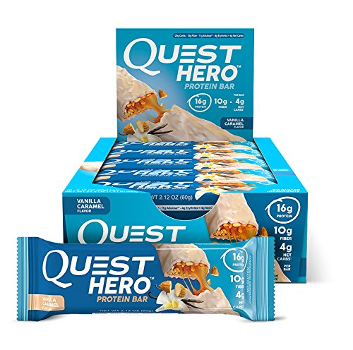 Quest Nutrition Hero Protein Bar, Vanilla Caramel, Gluten Free, 2.12 oz (10 Count)