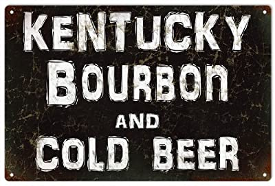 Kentucky Bourbon And Cold Beer Bar Garage Art Reproduction Sign