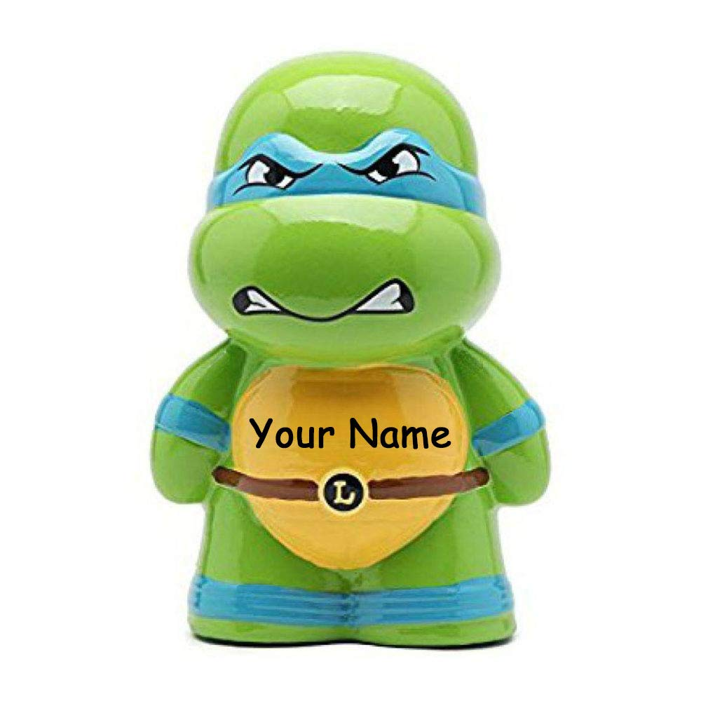 FABNY Personalized Teenage Mutant Ninja Turtles Leonardo Character Ceramic Piggy Bank Coin Bank with Custom Name by FABNY