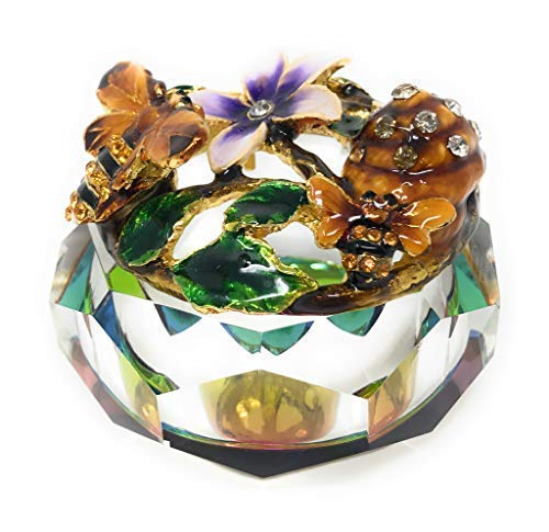 Kubla Crafts Enameled Bees, Honeycomb and Flowers with Cut Glass Trinket Box, Accented with Austrian Crystals, 3 Inches Diameter - Cut Glass Trinket