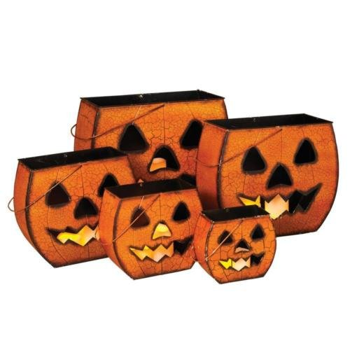 Metal Halloween Decorative Pumpkin Luminaries - Jack-O-Lanterns w/ Spooky Orange Crackled Finish - Nesting Style Easily Fit Within Each Other For Easy Storage - Set of 5 Fall Seasonal Lanterns -