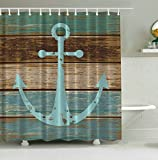 Anchor Shower Curtain Nautical Anchor Rustic Wood Shower Curtain YIGER Digital Printing Polyester Waterproof Mildew Resistant Machine Washable with Adjustable Hook 70.86 x 70.86inch
