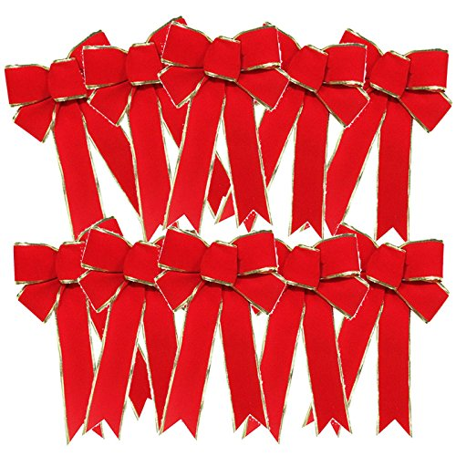 FORUSKY 10 Pcs 25 x 18 cm Christmas Charms Velvet Bow Wreaths Decoration Tree Ornaments (Red)
