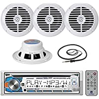 New Marine Dual AM425BT Marine Boat Yacht CD MP3 USB Receiver with Motion Control and Bluetooth Stereo Audio Radio Player with 4 X 6.5 Inch Marine Audio Spekaers System + Enrock Marine Antenna - Complete Marine Outdoor Stereo Package (White)