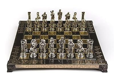 Marinakis Handmade Atlas Metal Chess Set In Wooden Box