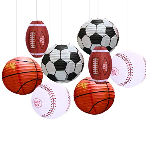 Lanterns For Party Decorations (UNIQOOO 8PCS Assorted Paper Round Lantern Set Perfect for Game Celebration, Birthday, Festival, Decoration - Great for Indoor or Outdoor (Sports Lantern Set) Football, Soccer, Basketball,)
