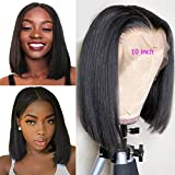 Tuneful 10 inch Middle Part Human Hair Short Bob Glueless Lace Front Wigs for Black Women 130% Density Brazilian Straight Hair Wig Pre Plucked with Baby Hair