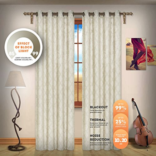 Blackout Weave Embossed Curtain Panels | Block Light And Noise | Best Sleep Of Your Life| Thermal Weaved Room Darkening Fabric Durable Grommets Premium Curtains And Draperies (2 panels 38x96, Ivory)