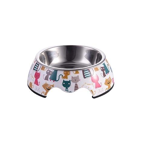 Eillybird Comedero Perro Gato Mascota Cuenco para Mascotas Ligero Portátil Comedero Gatos Patrón Acero Inoxidable Alimentador