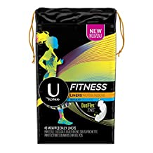 U By Kotex Fitness Panty Liners, Light Absorbency/Regular-Unscented, 40-Count