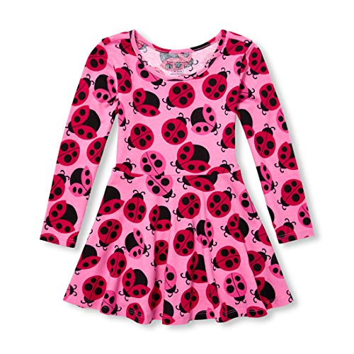 The Children's Place Baby Girls Long Sleeve Printed Dress, Sweet Princess, 12-18MOS