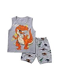 DKmagic Baby Boy Toddler Cartoon Dinosaur Vest Tops+ Shorts Pajamas Outfits Set