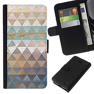All Phone Most Case / Oferta Especial Cáscara Funda de cuero Monedero Cubierta de proteccion Caso / Wallet Case for LG OPTIMUS L90 // Pattern Triangle Shapes Gold