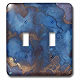 3dRose Anne Marie Baugh - Abstract - Royal Blue and Faux Printed Copper Watercolor Splash - Light Switch Covers - double toggle switch (lsp_283320_2)
