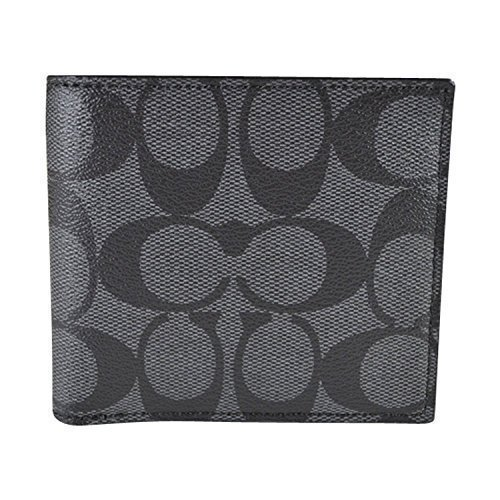 Coach Mens F75006 Charcoal/black Coin Case in Signature Wallet