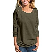 Women top ,IEason Fashion Women O Neck Zipper Adorn Long Sleeve Sweatshirt T-Shirt Tops Blouse