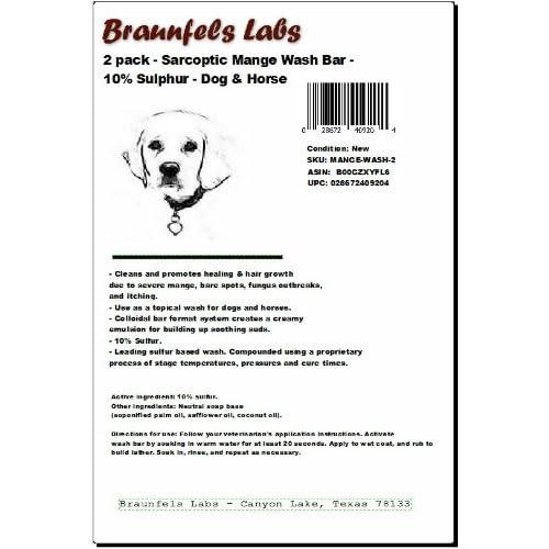 2 Pack - Sarcoptic Mange Wash Bar - 10% Sulphur - Dog & Horse Shampoo