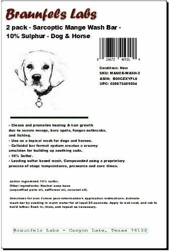 - 2 Pack - Sarcoptic Mange Wash Bar - 10% Sulphur - Dog & Horse Shampoo