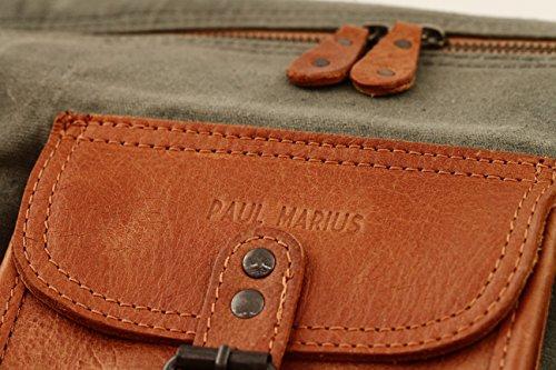 LE VOYAGEUR (XL) KAKI Sac Voyage Toile et Cuir Style Vintage PAUL MARIUS