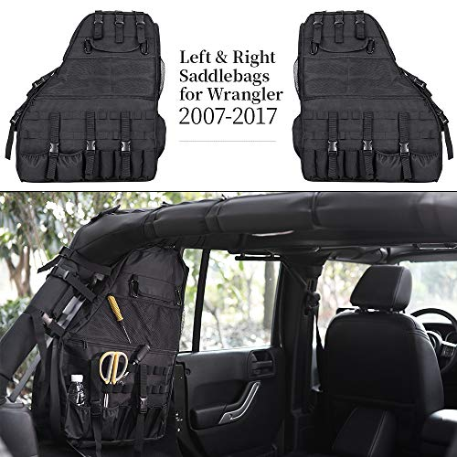 - JoyTutus Fits Jeep Wrangler Saddle Bag for JKU Roll Bar Storage Bags Saddlebag 2007 to 2018
