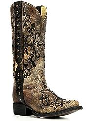 Corral Boots R1345 Black Bronze Long Pull Strap Square Toe