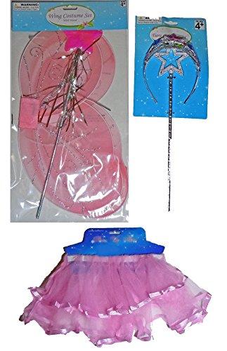 Satin Trim Skirt (5 Piece Fairy Princess Set (Pink Satin Trim Skirt With Pink Wings Plus Pink/Blue Jeweled Tiara With Star Wand))