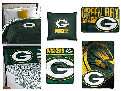 Northwest NFL Green Bay Packers Queen Bed in a Bag, toss Pillow, Rug, Throw, and Blanket ()