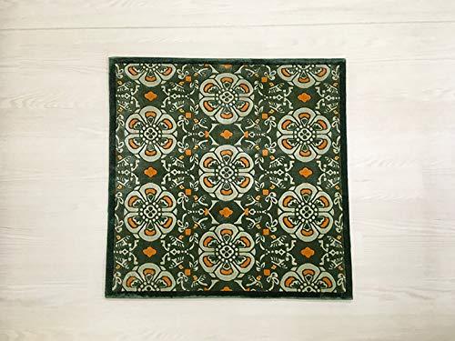 中国 手織り緞通(段通) 玄関マット 絨毯(じゅうたん) カーペット ラグ 「梅花紋」 グリーン系 dt-a137 B07QL62XKQ