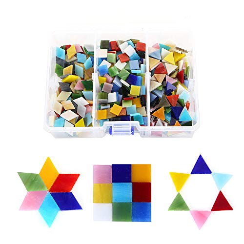 Mosaic Stepping Stones Patterns - 600pcs/400g Bulk Mosaic Tile Assortment, Mixed Colors Stained Glass, Square, Triangle, Rhombus, Home Decoration DIY Arts & Craft (Non-Transparent)