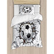 Sports Decor Duvet Cover Set by Ambesonne, Soccer Ball and Old Plaster Wall Damage Destruction Punching Illustration, 2 Piece Bedding Set with 1 Pillow Sham, Twin / Twin XL Size
