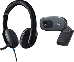 Logitech High-Performance USB Headset H540 for Windows and Mac, Skype Certified & C270 Desktop or Laptop Webcam, HD 720p Widescreen for Video Calling and Recording