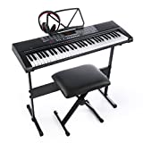 Joy 61-Key Standard Electronic Piano Keys Keyboard Set with Headphone,Stand,Stool and Power Supply