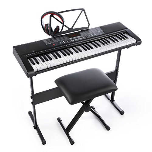 Joy JK-63M With USB 61-Key Keyboard Set Including Headphone,Stand,Stool and Power Supply (Beginners Piano Keyboard)