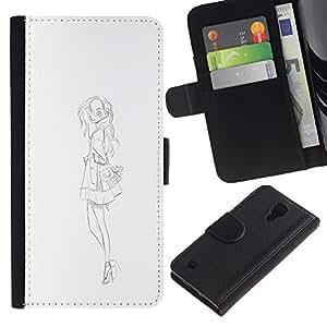 RenCase / Flip Funda Carcasa PU de Cuero para Samsung Galaxy S4 IV I9500 - Sketch Vestido Negro Blanco Moda;