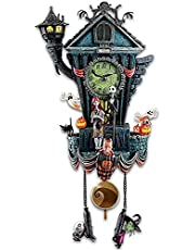 Cuckoo Clock Traditional Chalet Black Forest House Clock Handcrafted,Nightmare Before Christmas Wall Clock,Resin Crafts Statue Ghost Skeleton Little People Halloween Decor Wall Clock