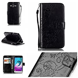 Galaxy J3 Case, ARSUE Luxury Embossing Flower Butterfly PU Leather Wallet Case Flip Cover with Card Slots & Stand for Samsung Galaxy J3 (2016) / Amp Prime/Express Prime, 10 Perfectly fit for Samsung Galaxy J3. Full access to all buttons and features.New listing and excellent quality! Soft TPU inner case will fully protect your devices from dust, scratches and bumps