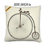 Artsbaba Pillowcases Retro Wheelbarrow Zipped Pillowcase Decorative Throw Pillow Cover 20''x20''