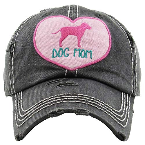 (H-212-DMH06 Distressed Baseball Cap Vintage Dad Hat - Dog Mom Heart (Black))