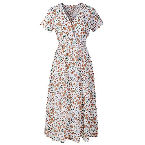 Women Maxi Dresses Casual Slim Pockets Short Sleeve Floral O Neck Long Party Dress White