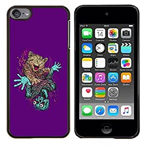 GIFT CHOICE / Teléfono Estuche protector Duro Cáscara Funda Cubierta Caso / Hard Case for Apple iPod Touch 6 6th Touch6 // Cute Cat & Skeleton Abstract //